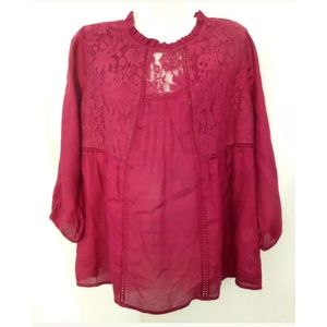 Red Camel Top Blouse Size S Loose Fit Crew Neck